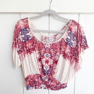 🚘MOVING🚘 Free People Cream Paisley Pink Top S